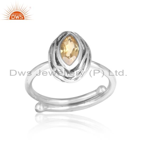 Gold Citrine Oval Shaped Adjustable 925 Silver Oxidized Ring