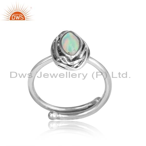 Ethiopian Opal Cabushion Sterling Silver Oxidized Ring