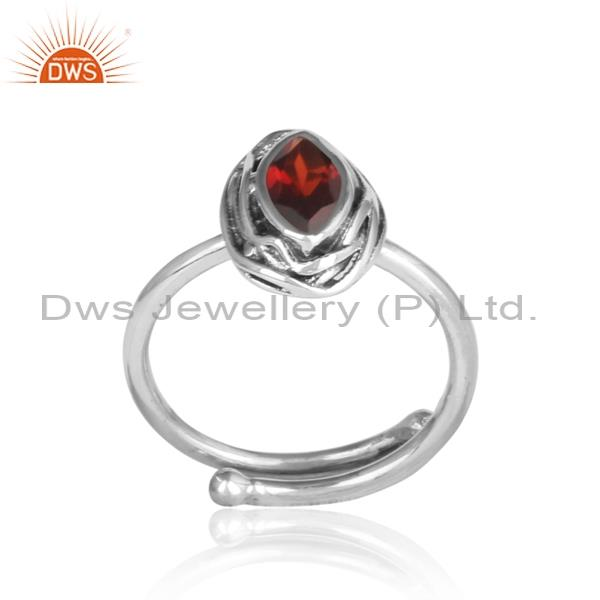 Red garnet set in sterling silver adjustable ring