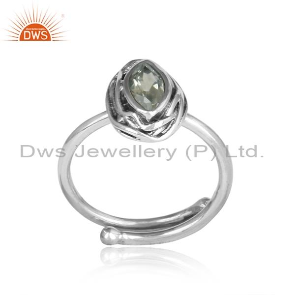 Green Amethyst Set Sterling Silver Oxidized Adjustable Ring
