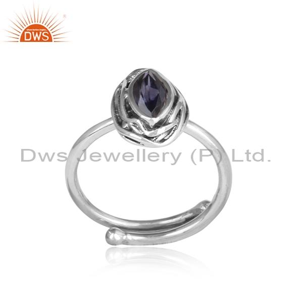 Iolite wrapped sterling silver oxidized adjustable ring