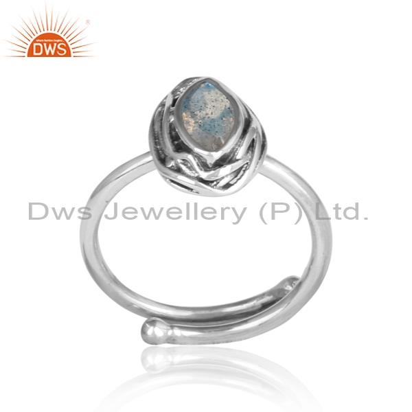 Labradorite Oval Cut Sterling Silver Oxidized Ring