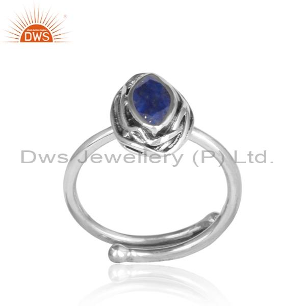 Lapis Oval Cut Sterling Silver Oxidized Ring
