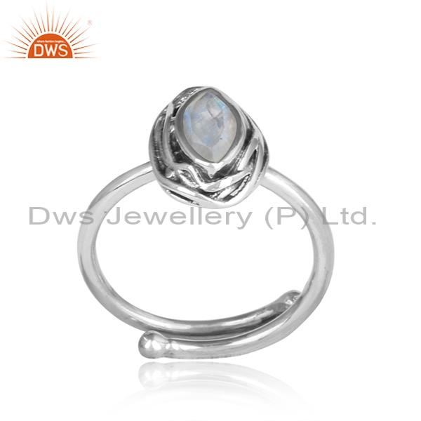 RAINBOW MOON STONE oval CUT silver oxidized ring