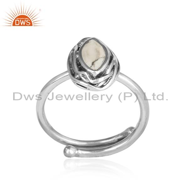 Howlite Cut Sterling Silver Adjustable Ring