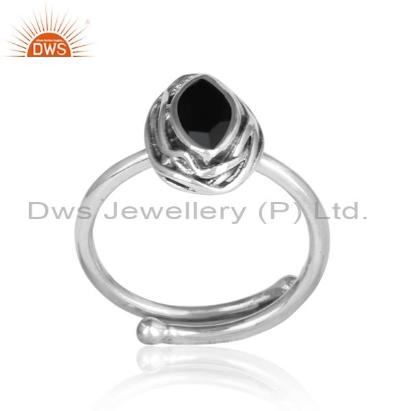 Black onyx wrapped sterling silver adjustable oxidized ring