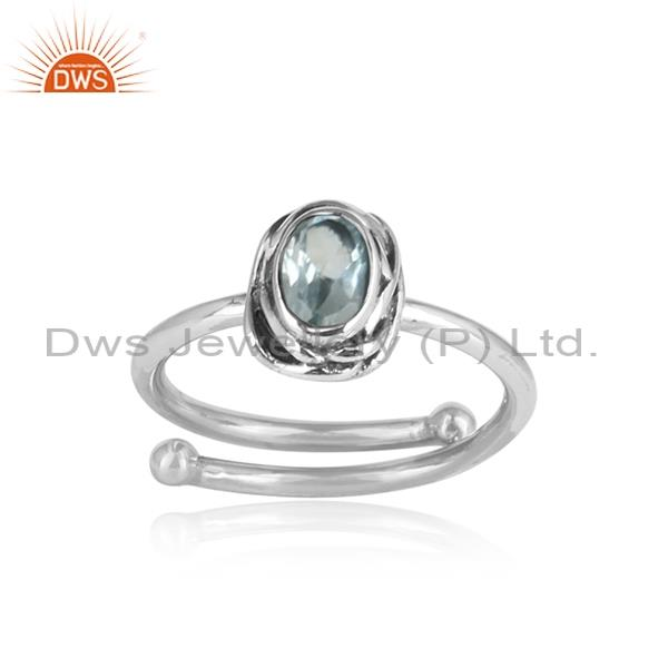 Translucent blue topaz crystal oxidized 925 silver ring