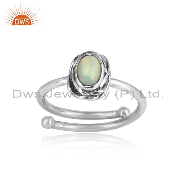 Ethiopin opal gemstone sterling silver oxidized ring