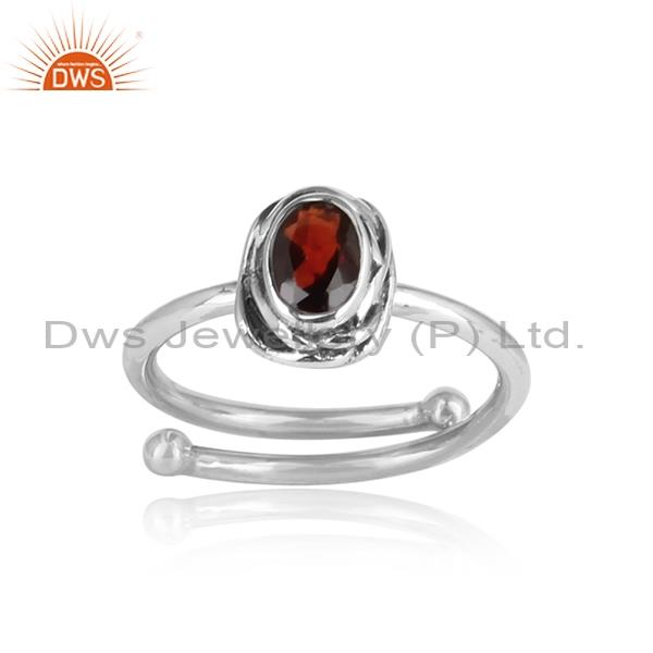 Red Garnet Set Sterling Silver Oxidized Ring