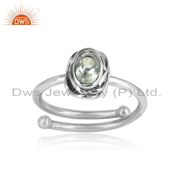 Green Amethyst Set Sterling Silver Ring For All Sizes