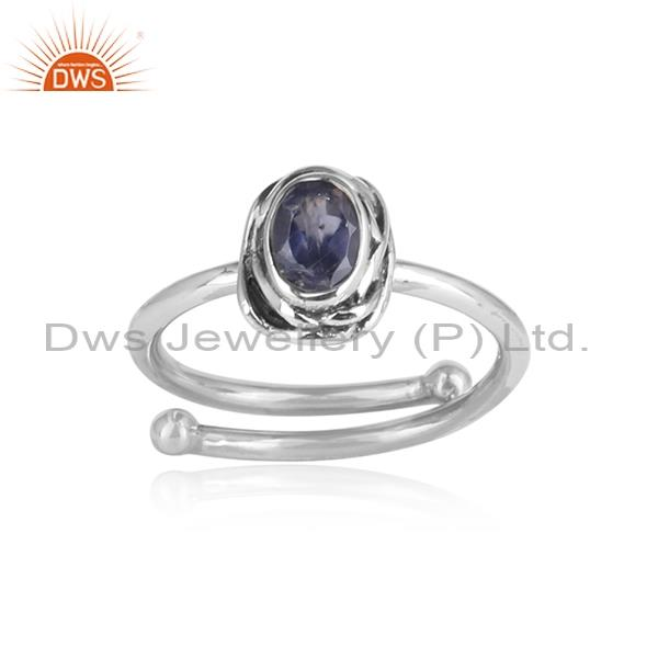 Iolite studded adjustable 925 oxidized silver ring