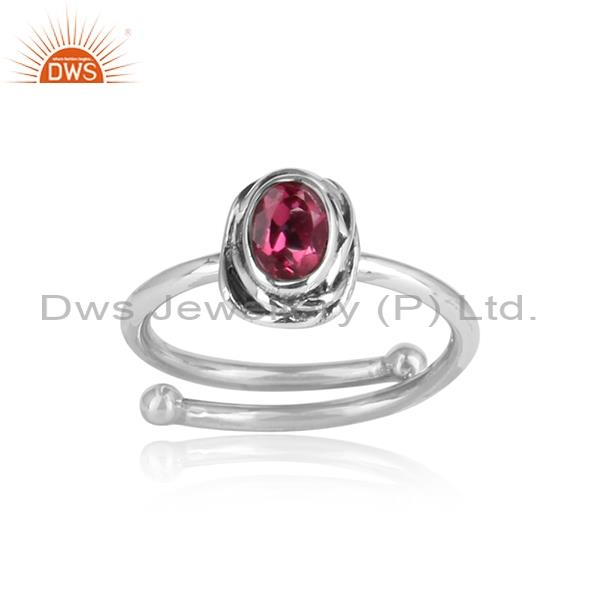 Pink Topaz Oval Cut Sterling Silver Oxidized Ring