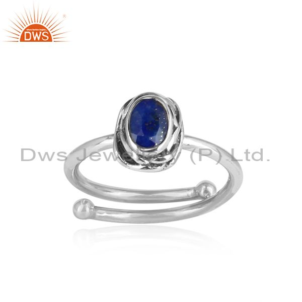Oval Lapis Lazuli Set 925 Silver Oxidized Ring For All Sizes