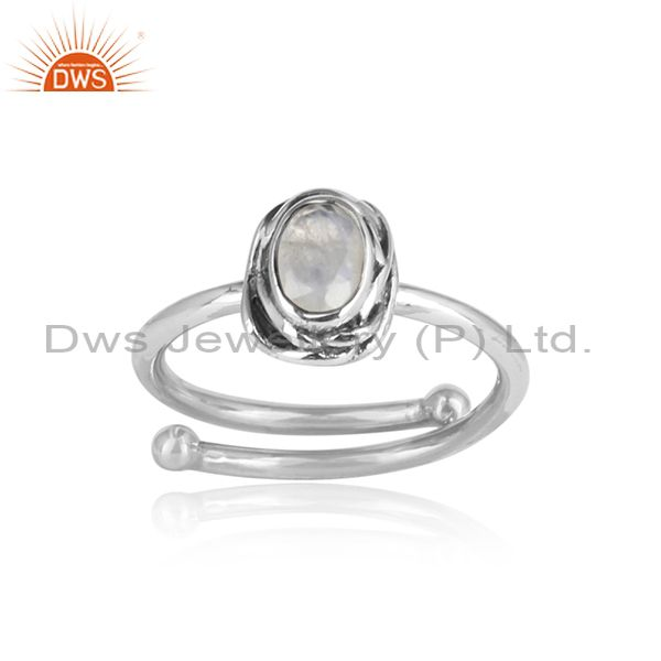 Rainbow Moon Stone Sterling Silver Adjustable Ring