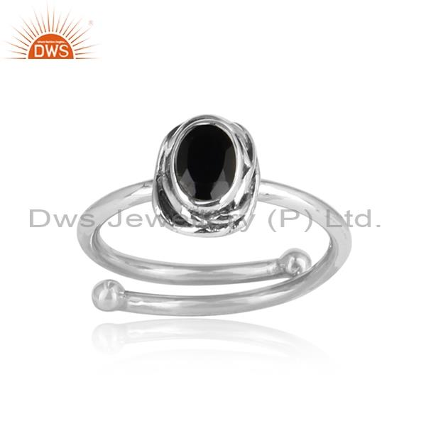 Black Onyx Set Sterling Silver Oxidized Adjustable Ring