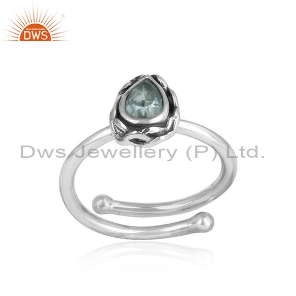 Blue Topaz Adjustable 925 Silver Ring, Tear drop shape