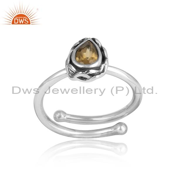 Citrine Pear Shaped Sterling Silver Oxidized Adjustable Ring