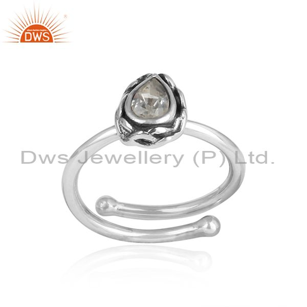 CRYSTAL QUARTZ pear shaped sterling silver adjustable ring