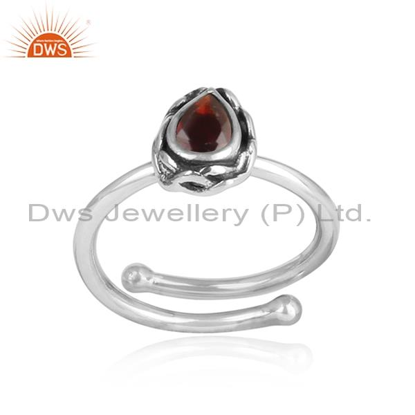 Bold Red Garnet Encased In 925 Silver Oxidized Ring