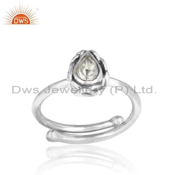 Pear Shaped Cut Green Amethyst Sterling Silver Ring