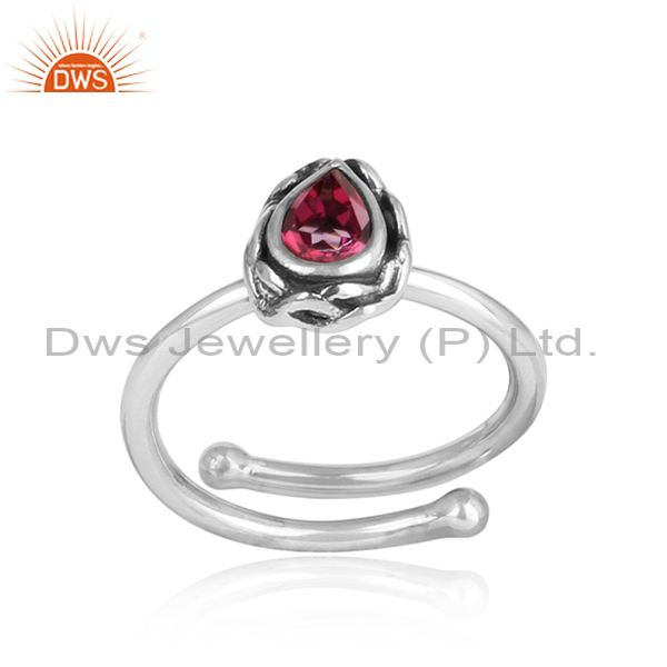 PINK TOPAZ set Sterling silver designer ring
