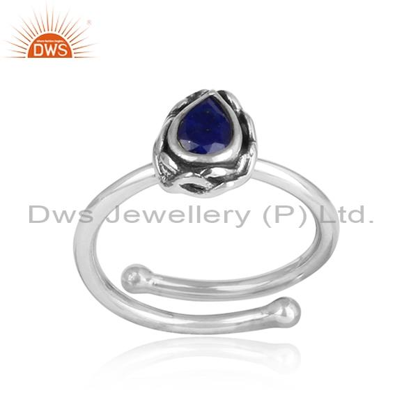 Lapis Cut Pear Shaped Design Sterling Silver Oxidized Ring