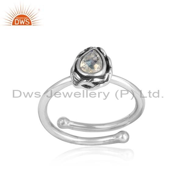 Tear drop Rainbow Moonstone Set In Patterned 925 Silver Ring