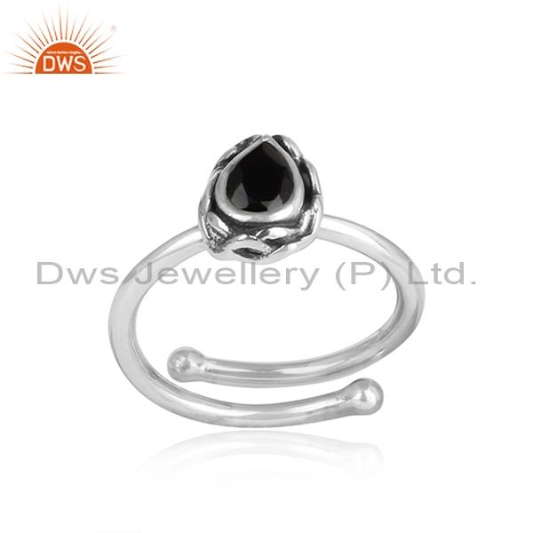Black Onyx Pear Shaped Silver Oxidized Ring