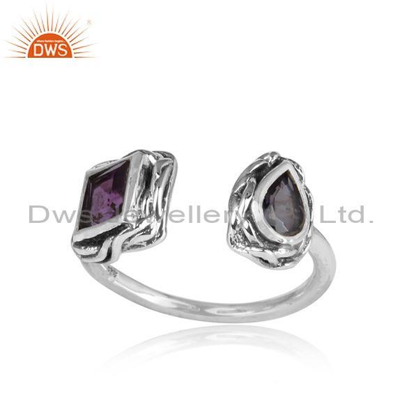 Amethyst And Iolite Set Oxidized Sterling Silver Facing Ring