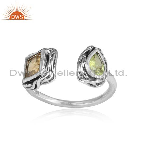 Citrine and peridot set oxidized sterling silver facing ring