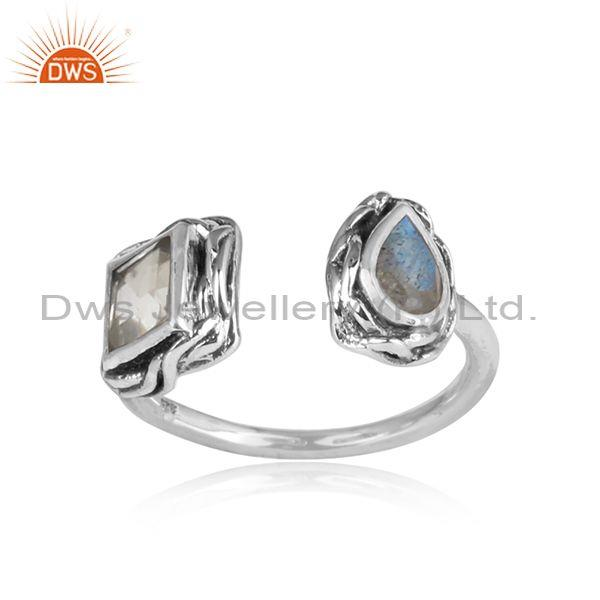 Crystal Quartz, Labradorite Set Oxidized Silver Facing Ring