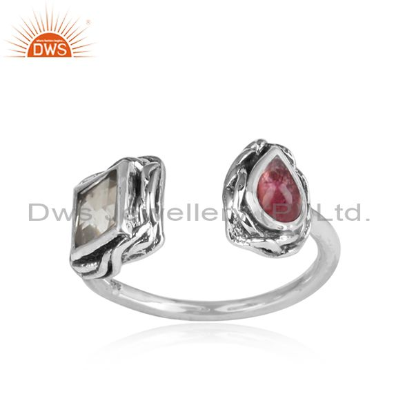 Crystal Quartz, Pink Tourmaline Set Oxidized 925 Silver Ring