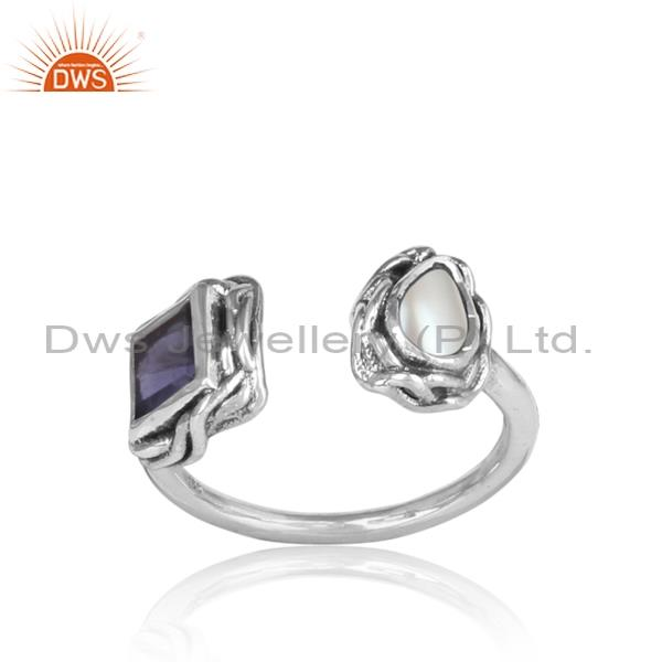 Pearl cabushion & iolite facing sterling silver ring