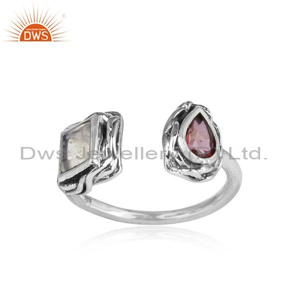 Pink Topaz, Rainbow Moon Stone Set Oxidized 925 Silver Ring