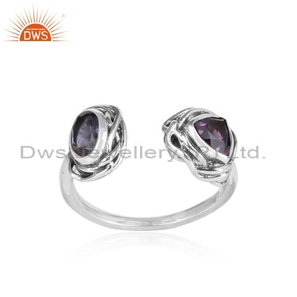 Iolite And Amethyst Set Oxidized Silver Classic Open Ring