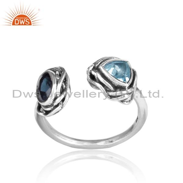 Multi-shape London Blue Topaz Studded 925 Silver Ring