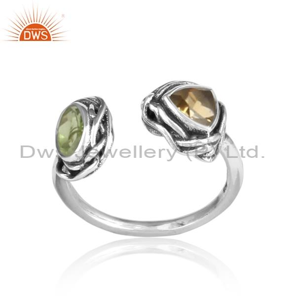 PERIDOT and citrine cut sterling silver oxidized ring