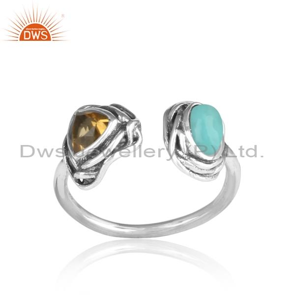 Triangle & Round Cut Citrine & Arizona turquoise Silver Ring