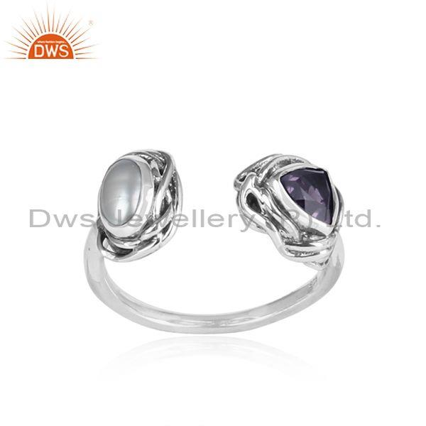 Iolite and pearl set oxidized sterling silver facing ring