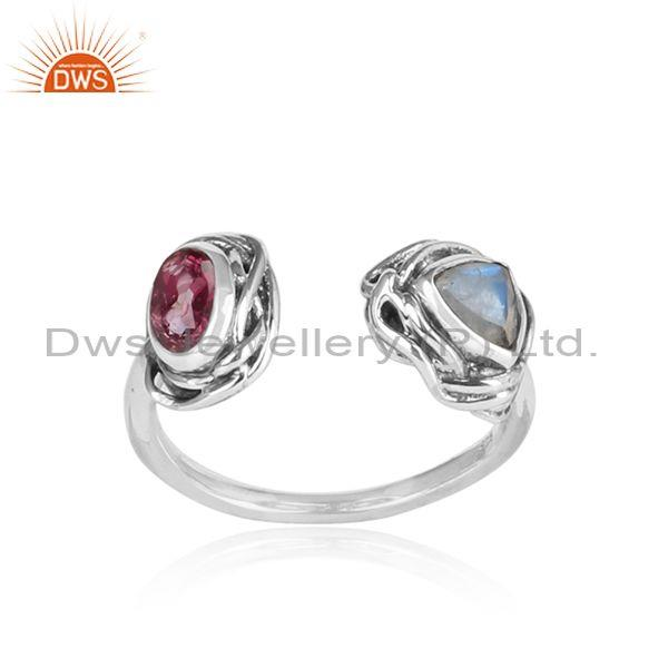 Pink Topaz, Rainbow Moon Stone Oxidized Silver Wrapped Ring