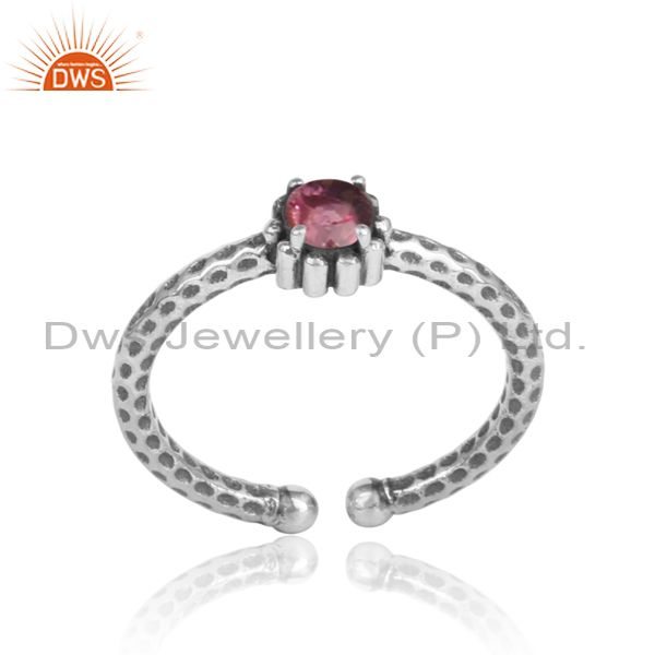 Handmade textured dainty oxidized silver 925 pink topaz ring
