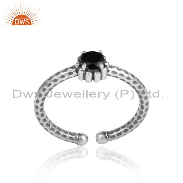 Black Onyx Set In 925 Silver Oxidized Ring With Spots