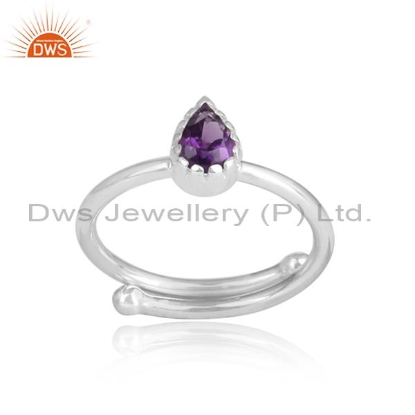 Pear Shaped Amethyst Set In Sterling Silver White Ring