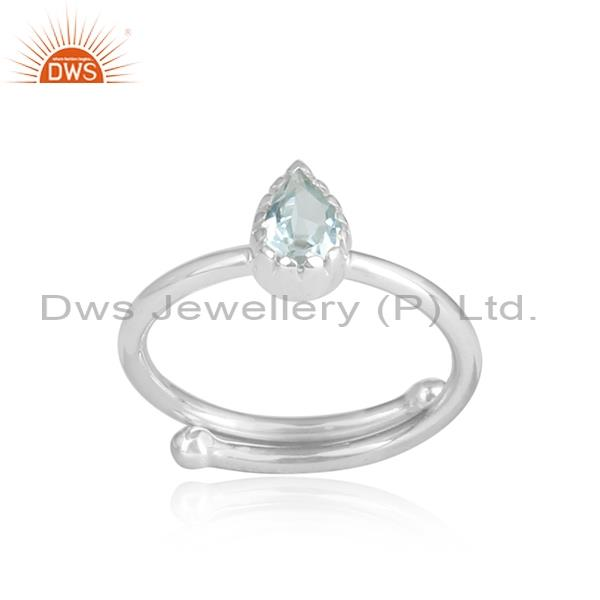 Blue topaz pear shaped cut sterling silver white ring