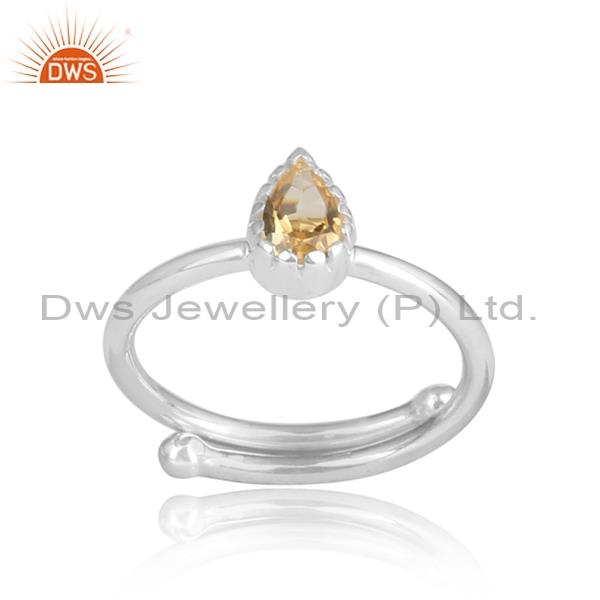 Pear Shaped Citrine Set In A Halo 925 Oxidized Silver Ring
