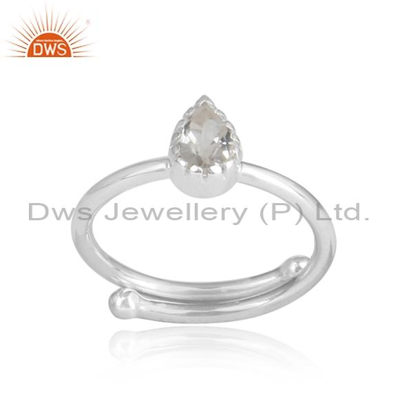 CRYSTAL QUARTZ CUT Sterling silver white ring