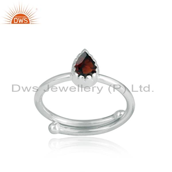Pear shape cut garnet set in 925 oxidized silver ring