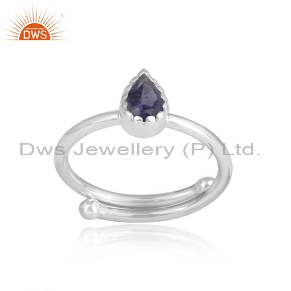 Iolite set sterling silver pear shaped white ring