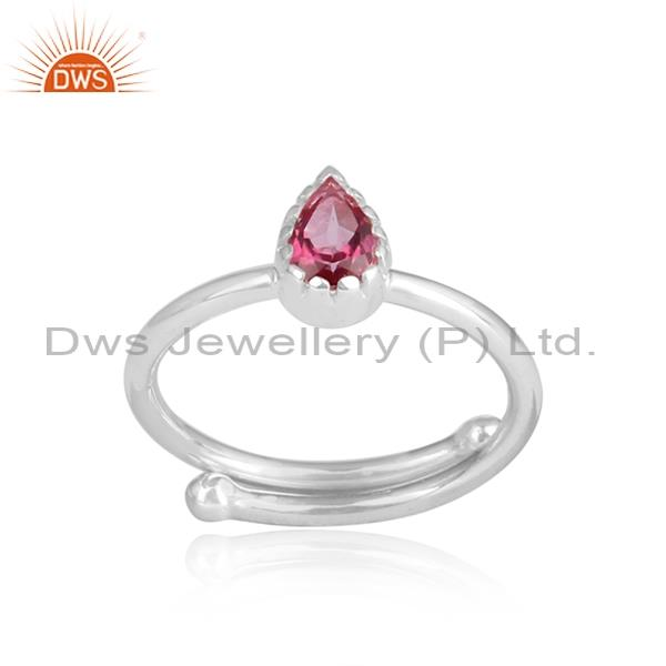 Pear shaped pink topaz sterling silver white adjustable ring