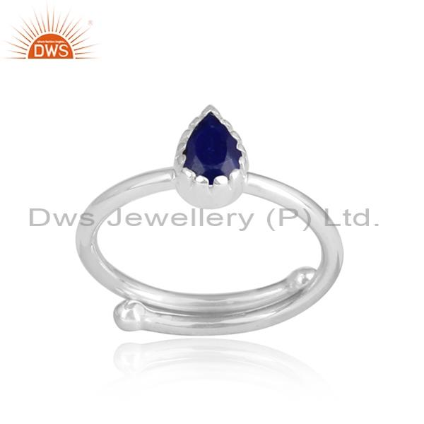 LAPIS CUT sterling silver white adjustable ring